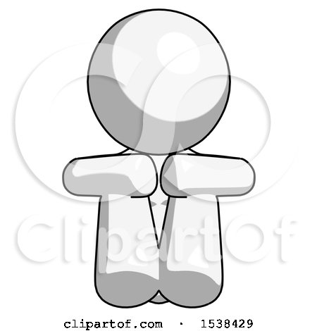 White Design Mascot Woman Sitting with Head down Facing Forward by Leo Blanchette