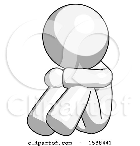 White Design Mascot Man Sitting with Head down Facing Angle Left by Leo Blanchette