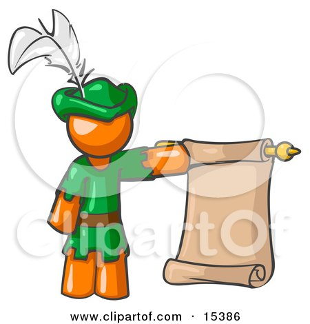 Orange Man Dressed As Robin Hood With A Feather In His Hat, Holding A Blank Scroll And Acting As A Pageboy Clipart Image Picture by Leo Blanchette