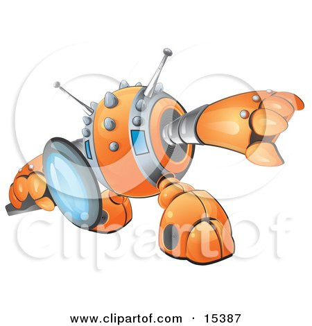 Orange Robot Searching Or Inspecting Through A Magnifying Glass Clipart Image Picture
