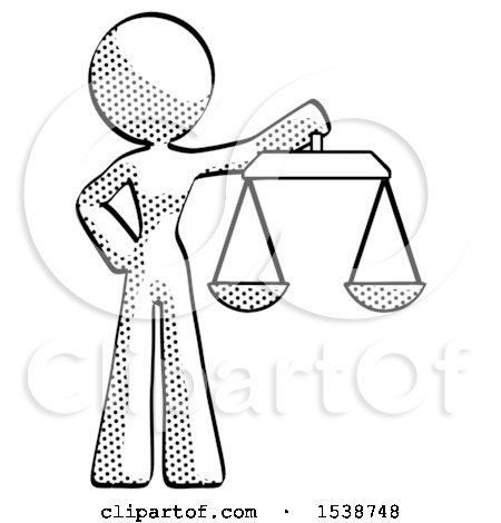Halftone Design Mascot Woman Holding Scales of Justice by Leo Blanchette