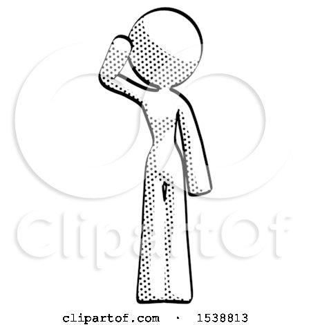 Halftone Design Mascot Woman Soldier Salute Pose by Leo Blanchette