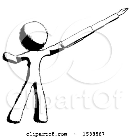 Ink Design Mascot Man Pen Is Mightier Than The Sword Calligraphy Pose By Leo Blanchette 1538867