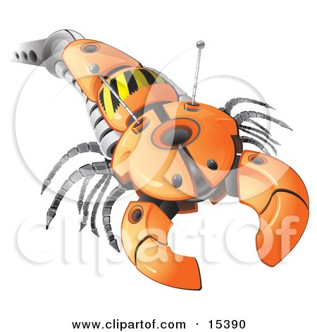 Arm Of An Orange Robot Resembling An Insect With A Pincher Clipart Image Picture