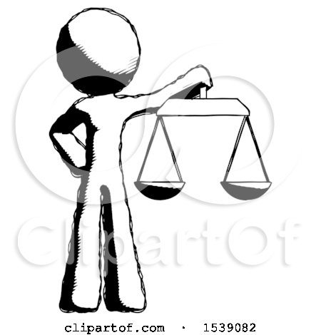 Ink Design Mascot Man Holding Scales of Justice by Leo Blanchette