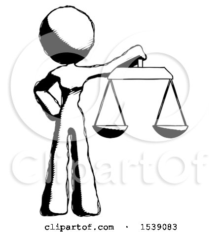 Ink Design Mascot Woman Holding Scales of Justice by Leo Blanchette