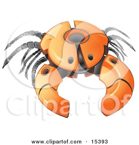 Orange Crab Robot With Open Pinchers  Posters, Art Prints