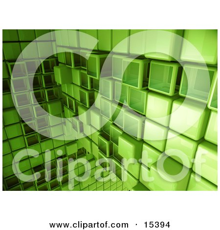 Green Abstract Background With Cubes, Some Pushed Back, Some Sticking Outwards  Posters, Art Prints
