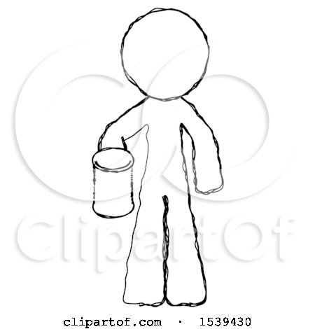 Sketch Design Mascot Man Begger Holding Can Begging or Asking for Charity by Leo Blanchette