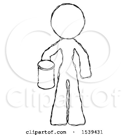 Sketch Design Mascot Woman Begger Holding Can Begging or Asking for Charity by Leo Blanchette