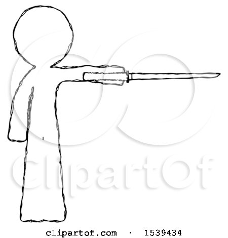 Sketch Design Mascot Man Standing with Ninja Sword Katana Pointing Right by Leo Blanchette