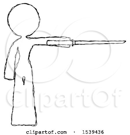 Sketch Design Mascot Woman Standing with Ninja Sword Katana Pointing Right by Leo Blanchette