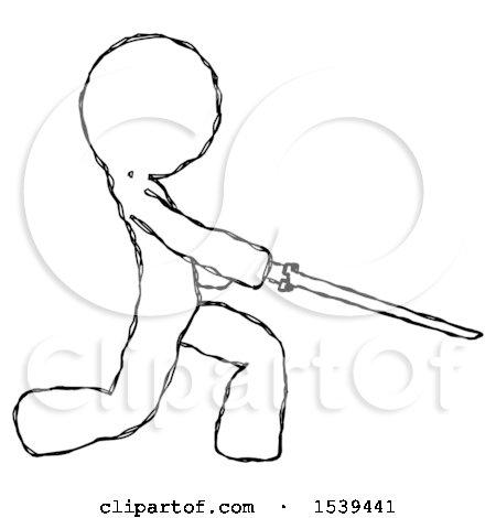 Sketch Design Mascot Man with Ninja Sword Katana Slicing or Striking Something by Leo Blanchette