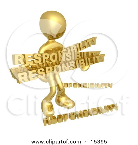 Overwhelmed Dependable Gold Person Carrying A Heavy And Large Load Of Responsiblities Clipart Illustration Image by 3poD