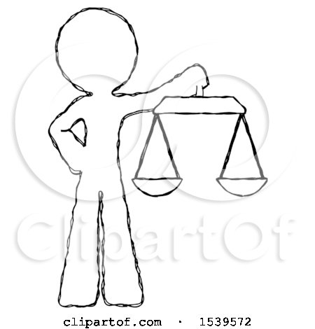 Sketch Design Mascot Man Holding Scales of Justice by Leo Blanchette