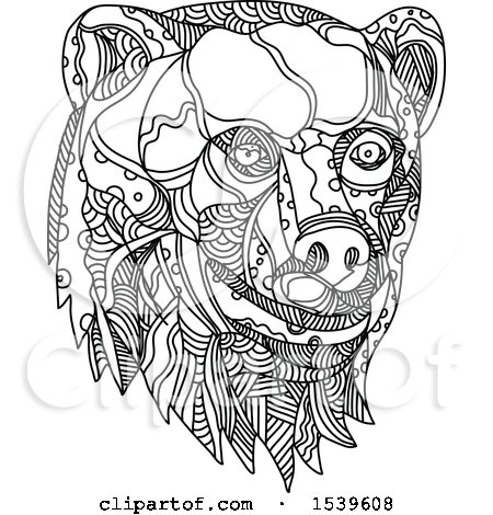 Clipart of a Brown Bear Head, in Black and White Zentangle Style - Royalty Free Vector Illustration by patrimonio