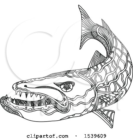 Clipart of a Barracuda Fish in Black and White Zentangle Style - Royalty Free Vector Illustration by patrimonio
