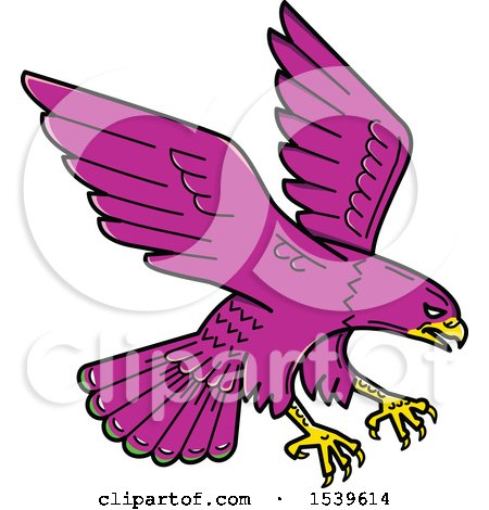Clipart of a Purple Peregrine Falcon Swooping - Royalty Free Vector Illustration by patrimonio
