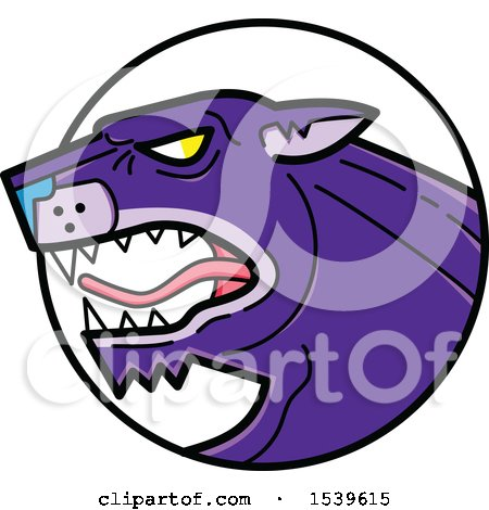 Clipart of a Roaring Purple Panther Big Cat in a Circle - Royalty Free Vector Illustration by patrimonio