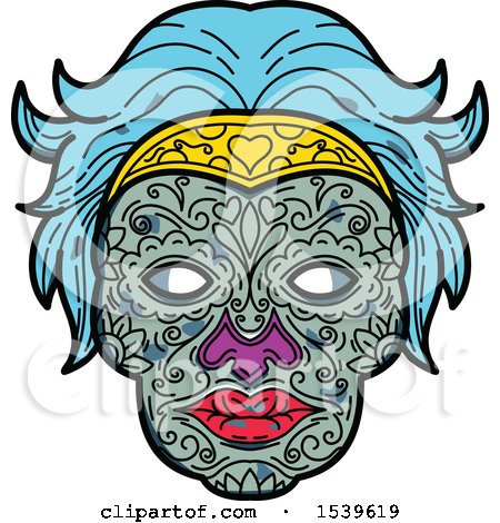 Clipart of a Female Sugar Skull with Blue Hair - Royalty Free Vector Illustration by patrimonio