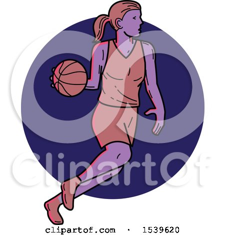 Clipart of a Female Basketball Player Dribbling over a Circle, in Monoline Style - Royalty Free Vector Illustration by patrimonio