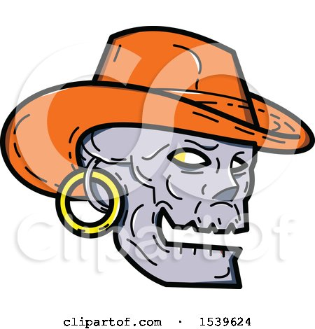 Clipart of a Skull Wearing a Cowboy Hat and Earring - Royalty Free Vector Illustration by patrimonio