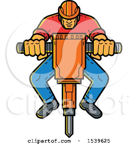 Clipart of a Construction Worker Operating a Jackhammer in Monoline Style - Royalty Free Vector Illustration by patrimonio