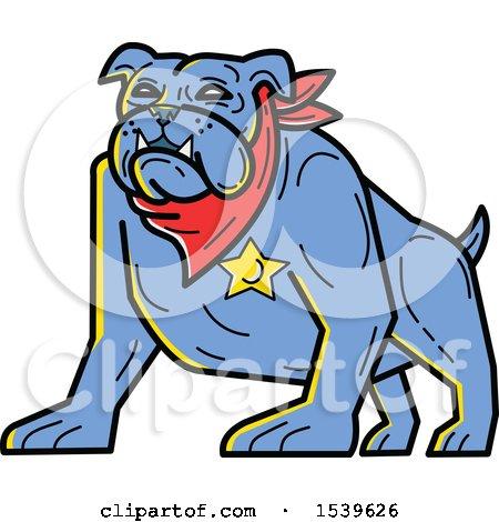Clipart of a Blue Sheriff Bulldog Wearing a Bandana and Badge - Royalty Free Vector Illustration by patrimonio