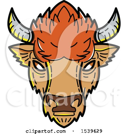 Clipart of a Bison Head in Mono Line Style - Royalty Free Vector Illustration by patrimonio