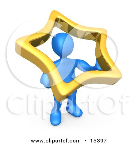 Blue Person Holding Up A Golden Star To Symbolize That They Are Famous Clipart Illustration Image by 3poD