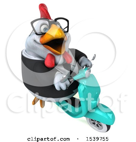 Clipart of a 3d Chubby White Business Chicken Riding a Scooter, on a White Background - Royalty Free Illustration by Julos
