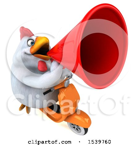 Clipart of a 3d Chubby White Chicken Riding a Scooter, on a White Background - Royalty Free Illustration by Julos