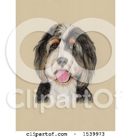 Clipart of a Portrait of a Dog on Sepia - Royalty Free Illustration by Maria Bell