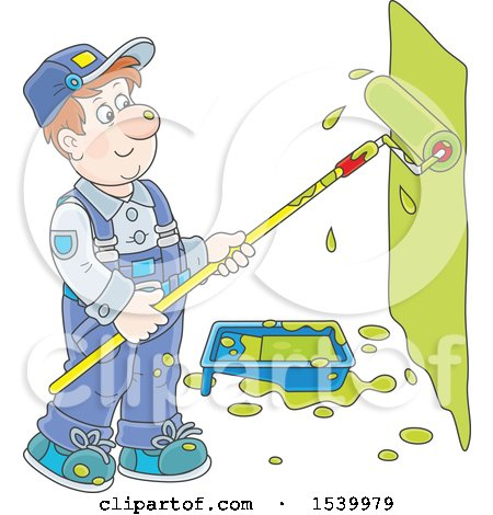 Clipart of a White Male Painter Using a Roller Brush to Paint a Wall - Royalty Free Vector Illustration by Alex Bannykh