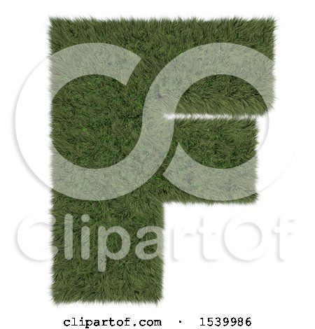 Clipart of a 3d Grassy Capital Letter F on a White Background - Royalty Free Illustration by KJ Pargeter