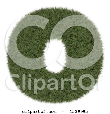 Clipart of a 3d Grassy Capital Letter O on a White Background - Royalty Free Illustration by KJ Pargeter
