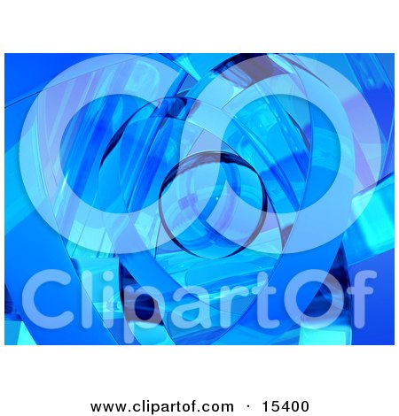 Abstract Blue Background Resembling Glass Ribbons Around An Orb  Posters, Art Prints