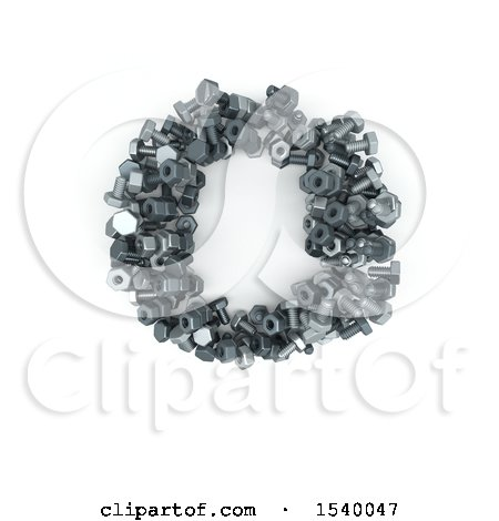 Clipart of a 3d Nuts and Bolts Capital Letter O on a White Background - Royalty Free Illustration by KJ Pargeter