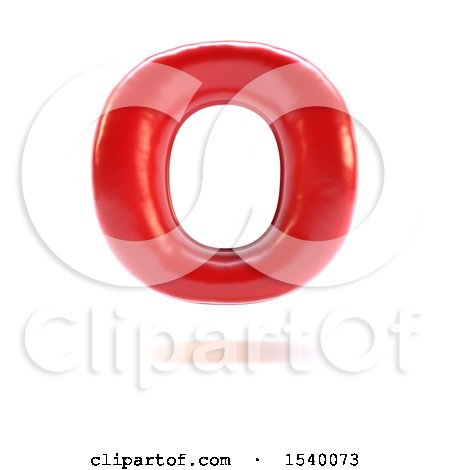 Clipart of a 3d Red Balloon Capital Letter O on a White Background - Royalty Free Illustration by KJ Pargeter