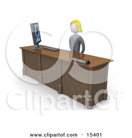 Friendly And Welcoming Blond Woman Working At A Computer At An Information Desk In An Office Clipart Illustration Image by 3poD