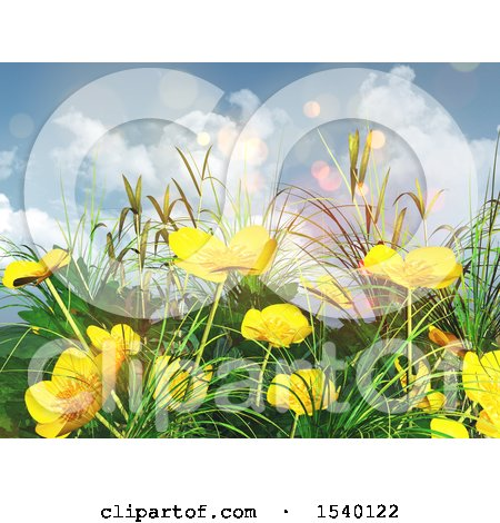 Clipart of a 3d Background of Buttercup Flowers and Grass Against Sky - Royalty Free Illustration by KJ Pargeter