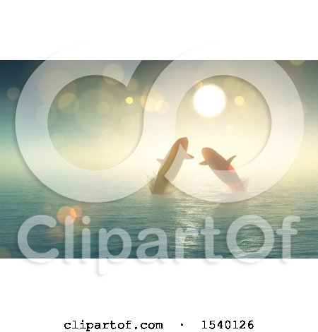 Clipart of a 3d Sunny Sky and Silhouetted Pair of Whales Jumping out of Water - Royalty Free Illustration by KJ Pargeter