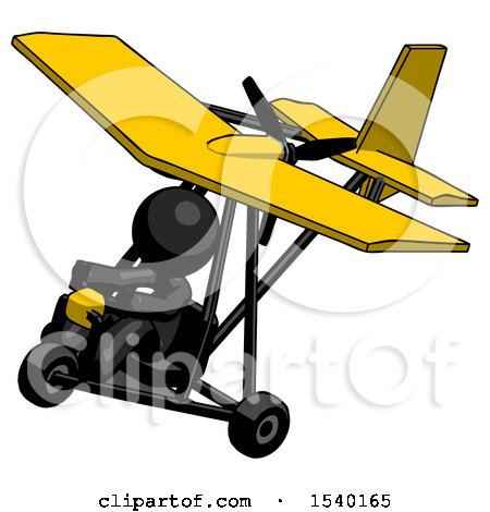 Black Design Mascot Man in Ultralight Aircraft Top Side View by Leo Blanchette