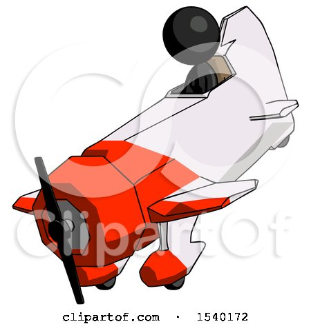 Black Design Mascot Woman in Geebee Stunt Plane Descending View by Leo Blanchette