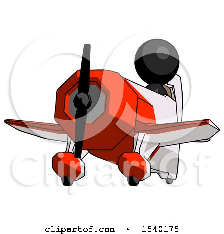 Black Design Mascot Man Flying in Geebee Stunt Plane Viewed from Below by Leo Blanchette