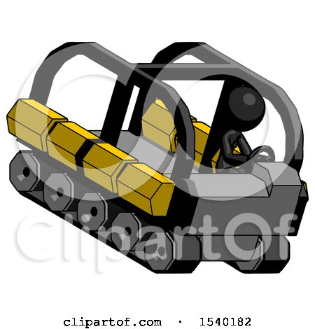 Black Design Mascot Woman Driving Amphibious Tracked Vehicle Top Angle View by Leo Blanchette
