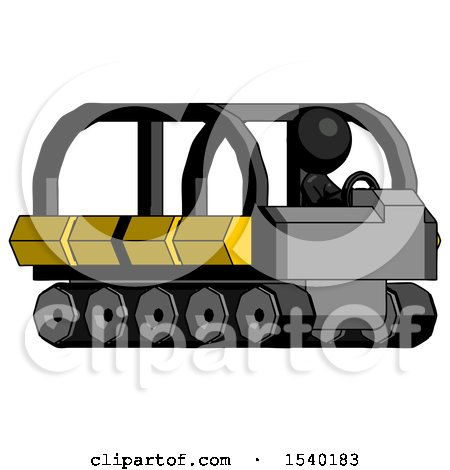 Black Design Mascot Man Driving Amphibious Tracked Vehicle Side Angle View by Leo Blanchette