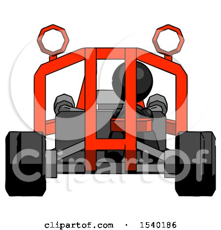 Black Design Mascot Woman Riding Sports Buggy Front View by Leo Blanchette