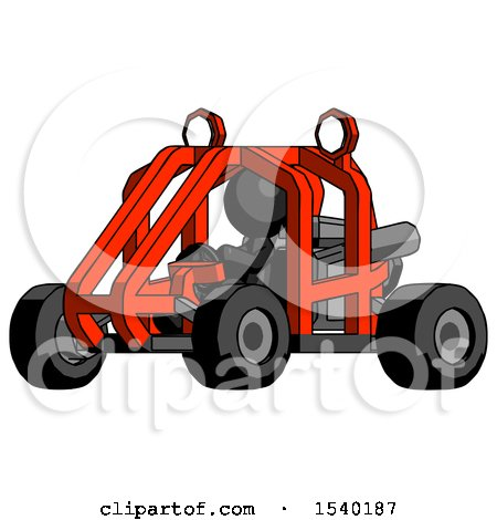 Black Design Mascot Man Riding Sports Buggy Side Angle View by Leo Blanchette