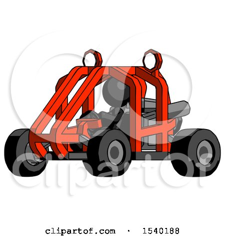 Black Design Mascot Woman Riding Sports Buggy Side Angle View by Leo Blanchette